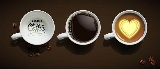 Coffee advertising design.Three white porcelain cups with coffee. High detailed realistic illustration