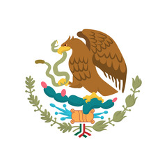 Mexican Coat of Arms simplified, national emblem. Eagle of Mexico.