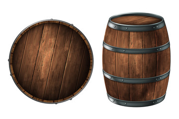 A wooden barrel for storing alcoholic beverages and a barrel lid.  3D vector. High detailed realistic illustration.