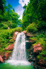 Mountain river waterfall landscape. Waterfall river