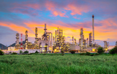 .Landscape of Oil and Gas Refinery Manufacturing Plant., Petrochemical or Chemical Distillation Process Buildings., Factory of Power and Energy Industrial at Twilight Sunset., Engineering Petroleum.