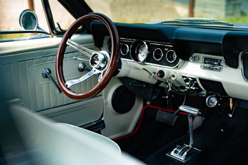 Interior of a classic vintage american car