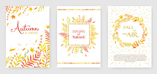 Autumn color invitation with floral branches. Autumn cards templates for save the date, wedding invites, greeting cards