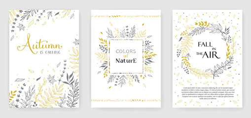 Gold color invitation with floral branches. Autumn cards templates for save the date, wedding invites, greeting cards Fototapete