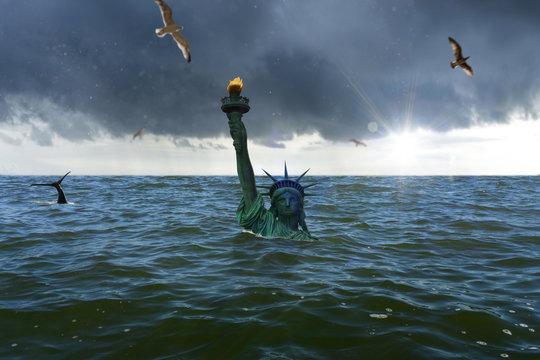 Statue of Liberty sinks in the ocean