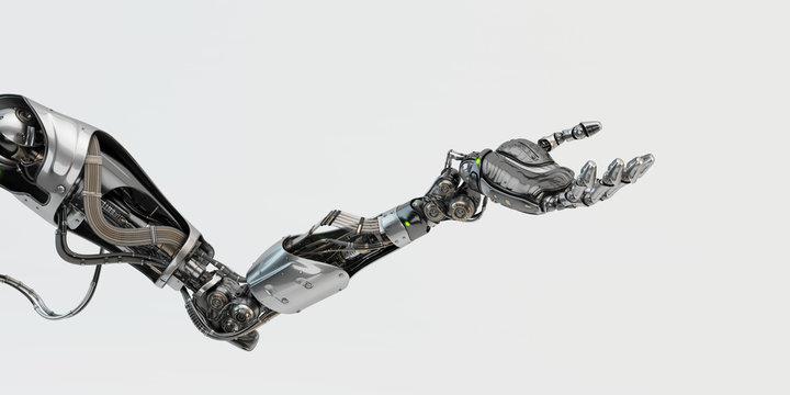Prosthetic handsome robotic arm, 3d rendering