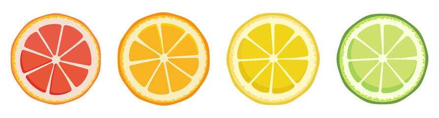 Vitamin C. Set of vector isolated elements. Bright fresh ripe juicy grapefruit orange lemon lime slices isolated on a white background. Template for animation design, icon, logo, poster, advertising.