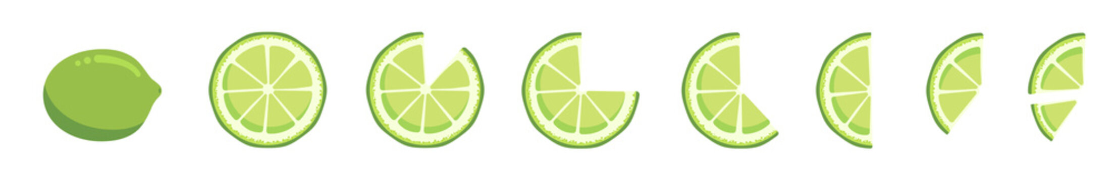 Vitamin C. Set of vector isolated elements. Bright fresh ripe juicy whole and cut lime and slices isolated on white background. Clip art for your design