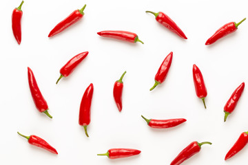 Aluminium Prints Hot chili peppers Chili or chilli cayenne pepper isolated on white background cutout.