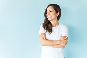 Positive Woman In Studio