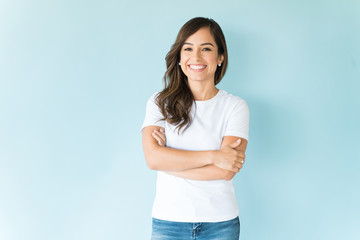 Confident Woman Over Isolated Background