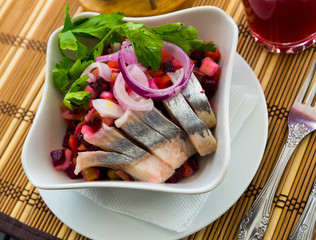 Russian beetroot salad with herring
