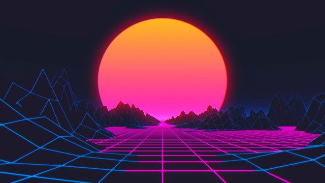 80s Retro Futurism Background. 3d illustration
