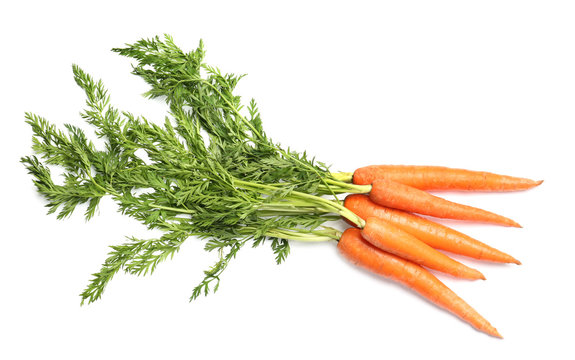 Bundle of ripe carrots isolated on white, top view