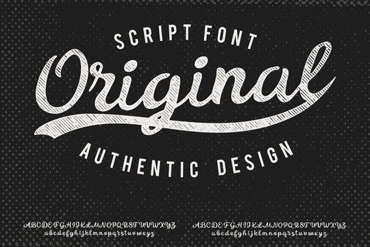 Original. Hand made script typeface. Vintage brush script. Retro vector illustration. Print for clothes.