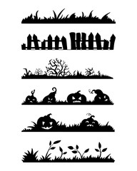 Set of silhouettes for Halloween: grass, fence, trees and bushes, pumpkins. Vector