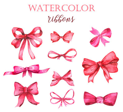 Watercolor holiday red ribbon bow illustration, festive bunting clip art, birthday party, valentines day or Christmas design elements set, isolated on white background. Hand painted traditional decor