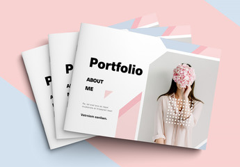 Landscape Portfolio Layout with Pink and Blue Pastel Elements
