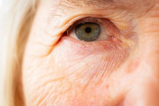 Portrait of a senior caucasian woman eye themes of retirement senior aging process portrait