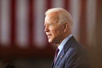 2020 Democratic U.S. presidential candidate and former Vice President Joe Biden speaks during a campaign stop in Burlington