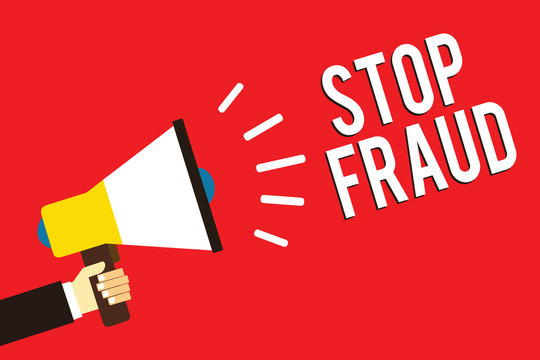 Word writing text Stop Fraud. Business concept for campaign advices people to watch out thier money transactions Man holding megaphone loudspeaker red background message speaking loud