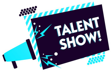 Handwriting text Talent Show. Concept meaning Competition of entertainers show casting their performances Megaphone loudspeaker blue striped frame important message speaking loud