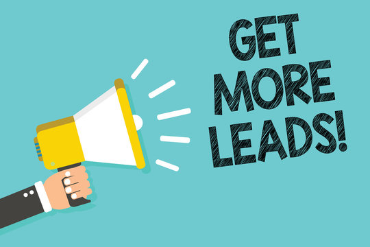 Writing note showing Get More Leads. Business photo showcasing Look for new clients customers followers Marketing strategy Man holding megaphone loudspeaker blue background message speaking