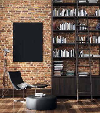 Minimalist industrial interior background, 3d render