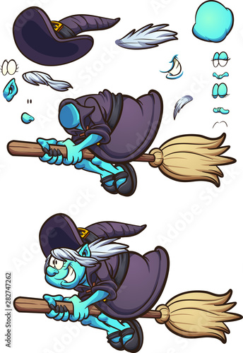 Halloween Cartoon Witch Face.Cartoon Halloween Witch Character Flying On Her Broom With Different