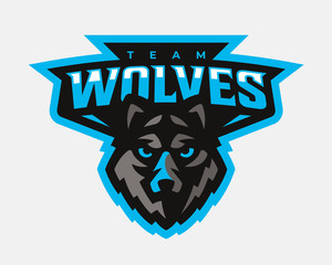 Wolf modern logo. Wolf emblem design template for a sport and eSport team.