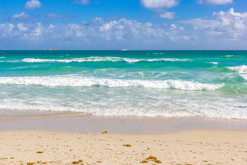 tropical beach in Miami Florida with beautiful ocean waters and blue sky.