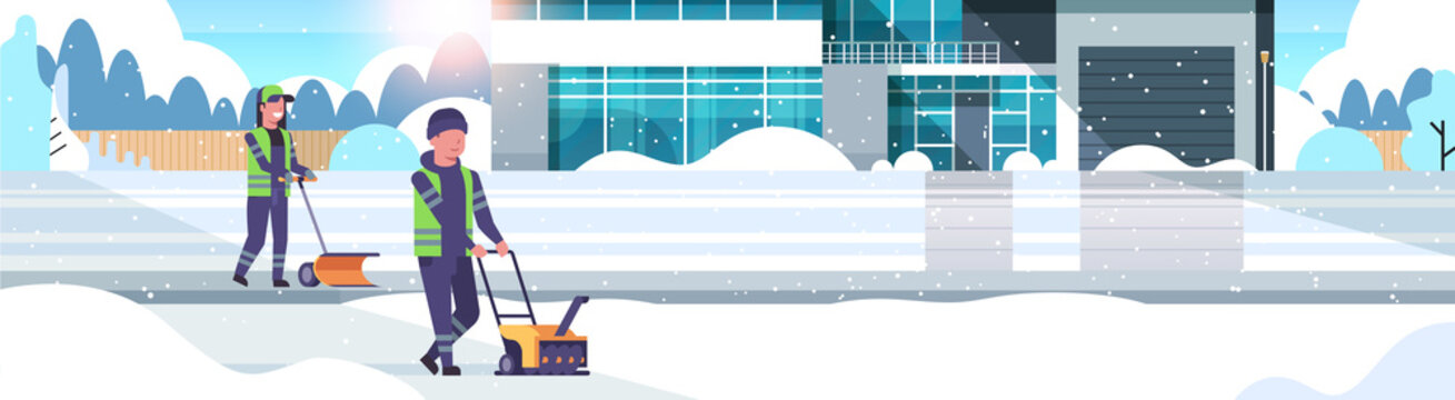 cleaners couple using snowblower and snowplough snow removal concept man woman in uniform cleaning winter villa suburban area snowfall sunshine background flat horizontal full length