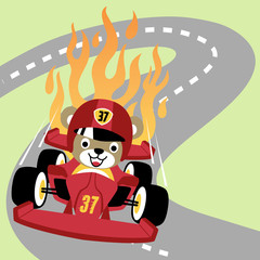formula one racing, vector cartoon illustration