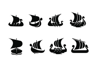 set viking boat ship black logo icon design vector illustration
