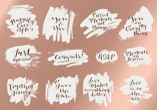 Wedding invitation calligraphy. Set of Love vintage hand drawn quotes