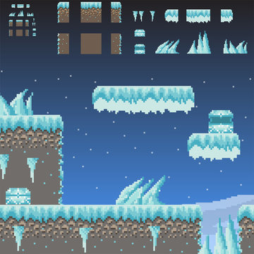 Pixel art Adventure 8 Bit game winter scene and quest creator of ground, texture, ice, icicles, snow, sky, chest. Set of Indie game Arcade elements for retro video game design
