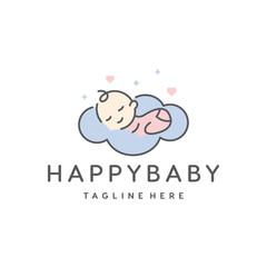 cute baby sleep for babyshop vector icon logo illustration design