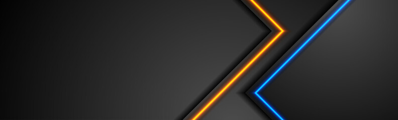 Fotobehang - Black tech abstract banner design with blue and orange neon glowing light. Concept modern futuristic background. Vector illustration