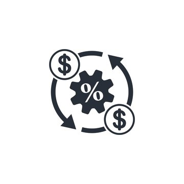 Budget management. Cost reduction. Flat vector icon on a white background.