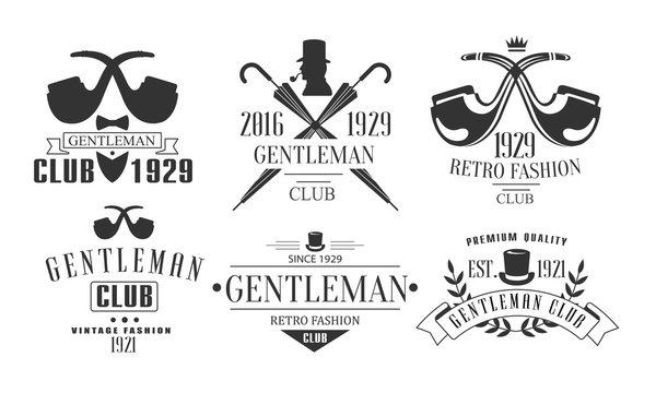 Gentleman Club Vintage Logo Templates Set, Fashion Club Retro Emblems Vector Illustration
