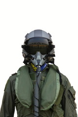 fighter pilot helmet and suit isolate on white background