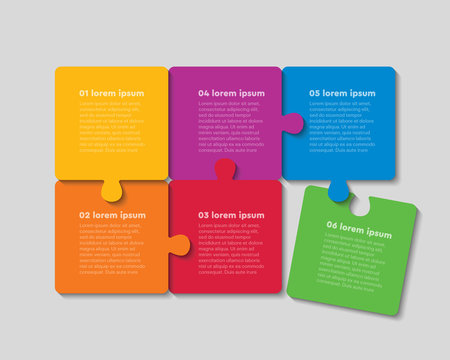 Six jigsaw puzzle template process with text space
