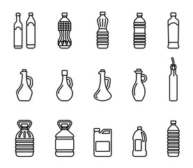 Vector icon set of pictures of different types of oil for cooking. Group bottles of oil for frying.