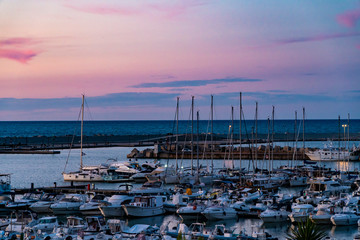 sea port with boats in the beautiful sunset