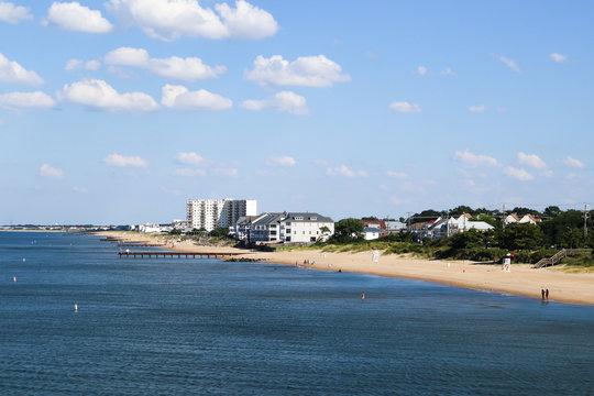 Ocean View Beach and hotels in Norfolk, Virginia.
