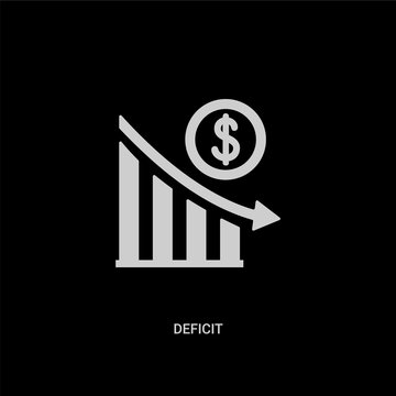 white deficit vector icon on black background. modern flat deficit from business concept vector sign symbol can be use for web, mobile and logo.