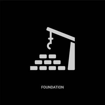 white foundation vector icon on black background. modern flat foundation from architecture and city concept vector sign symbol can be use for web, mobile and logo.