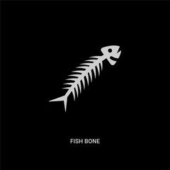 white fish bone vector icon on black background. modern flat fish bone from animals concept vector sign symbol can be use for web, mobile and logo.