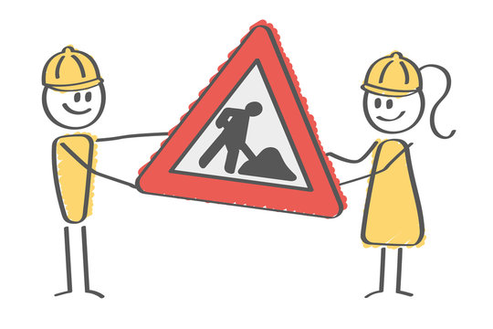 Stick Figure - construction workers with sign