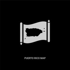 white puerto rico map vector icon on black background. modern flat puerto rico map from countrymaps concept vector sign symbol can be use for web, mobile and logo.
